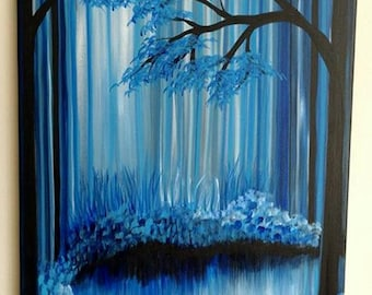 Blue Trees acrylic painting, forest, landscape, abstract