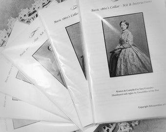 NEW!! 1860's Collar Kit - Collar pattern and complete instructions - Civil War ladies' accessory - Complete and detailed kit with fabric!