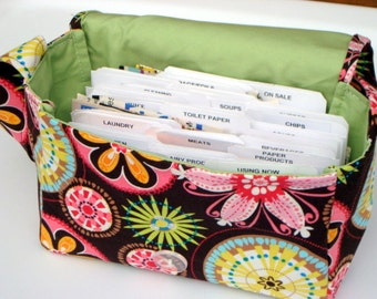 "Large 4"" Size Coupon Organizer / Budget Organizer Holder Box - Attaches to Your Shopping Cart -Carnival Bloom / Lime Green Lining"