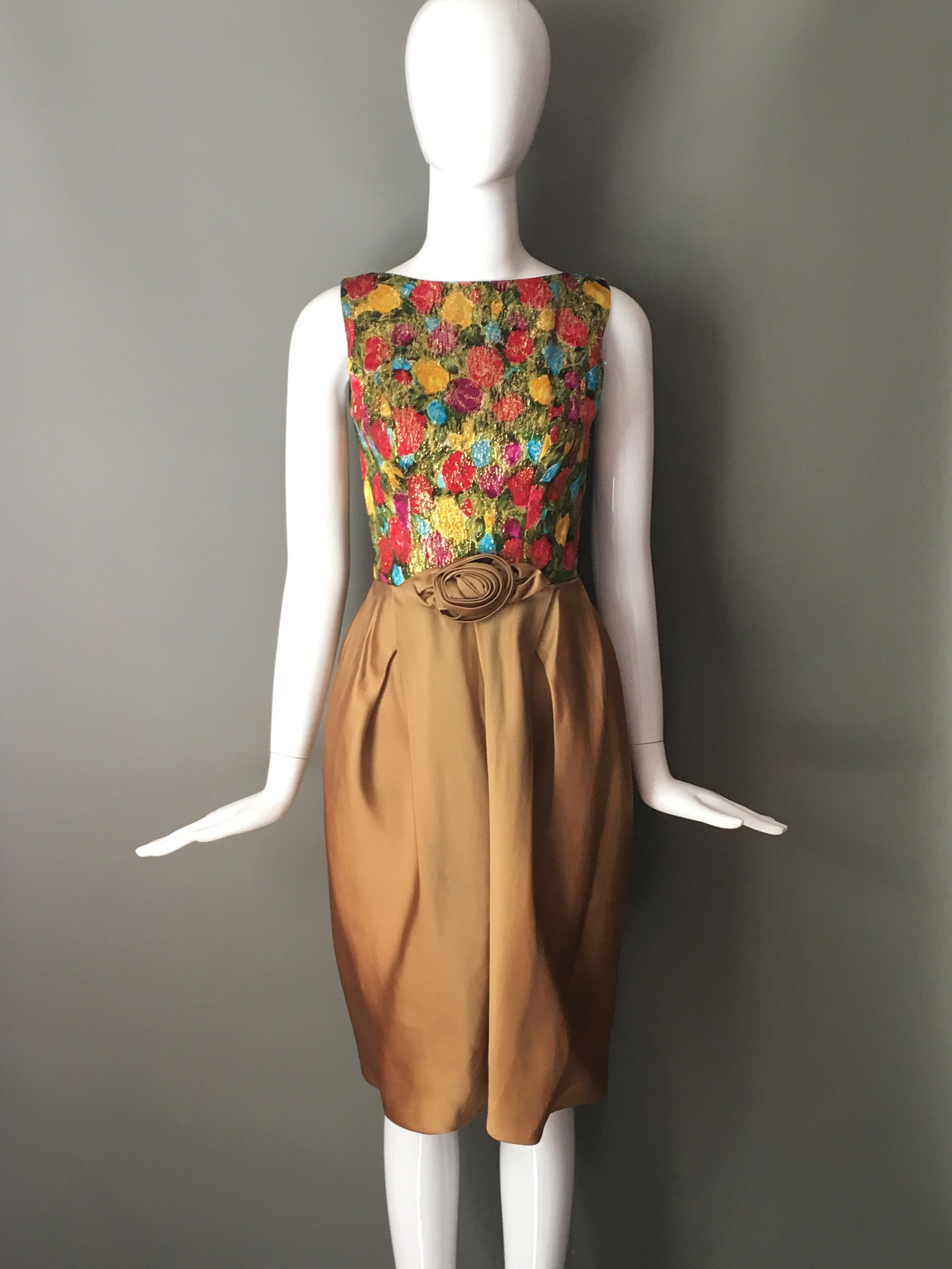 Stunning Vtg 60s Chartreuse Satin Gold Metallic Saturated Multi ...