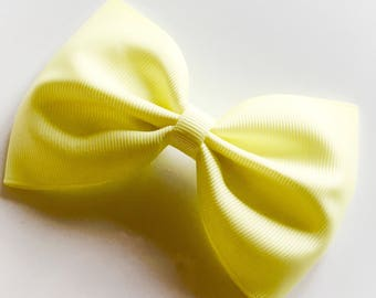 Large Lemon Tux Hair Bow on alligator clip - hair bows, hair accessories, large bows