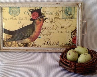 Small Bird Tray with Vintage Postcard Liner