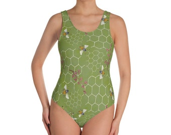 Beehive in GreenOne-Piece Swimsuit