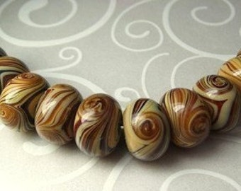 Coffee and Cream Lampwork Rondelle  (7)