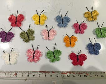 Butterfly, set of 15 butterflies in the hand made crochet, scrapbooking embellishment, card making, customisation