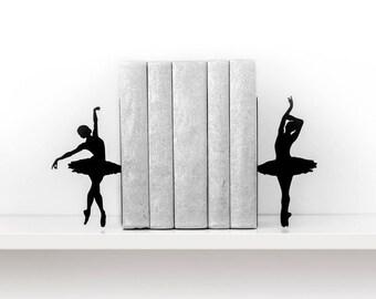Ballet bookends Ballerina book ends Kids bookends Metal bookends Book shelf decor Book end Girl room - black
