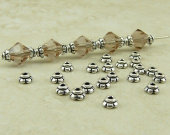 20 TierraCast 4mm Scalloped Very Tiny Bead Caps > Silver Plated Lead-Free Pewter - I ship Internationally 5596