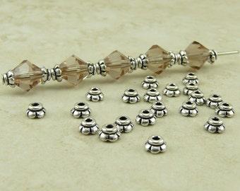 20 TierraCast 4mm überbacken sehr winzige Perlenkappen > Silber vergoldet bleifreies Zinn - Ich versende International 5596