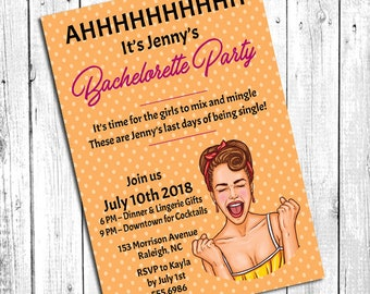 Pin Up Invitation | Rockabilly | Bachelorette Party Invitation | Bridal Shower Invitation | Wedding | Girls Night Out | DESIGN ONLY