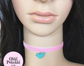 Blue Bird on Pink Velvet Choker Necklace