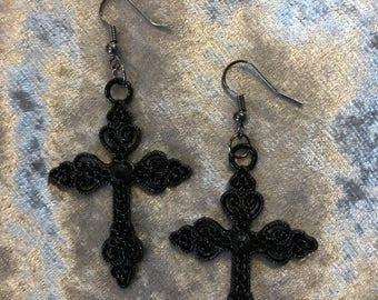 Gothic, cross, black, filligree, alternative earrings.