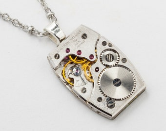 Steampunk Necklace, Watch Necklace with Rare Vintage Waltham Premiere Watch Movement Genuine Ruby Jewels on Silver Chain, Jewelry Gift