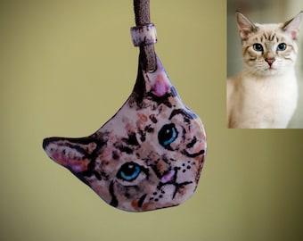 Custom Cat Necklace/Cat Necklace/Tabby Cat Necklace/Personalized Cat Portrait/Enamel Necklace/Cat Pendant/Cat Lover Gift/Statement Necklace