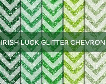 Green Glitter Digital Paper - Digital Glitter Chevron - St Patricks Day Paper -St Patricks Day Pattern-Digital Sparkle Glitter-Green Pattern