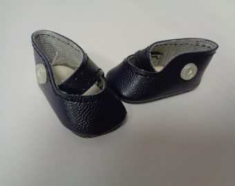Teeny Tiny Navy Blue Mary Jane button Strap Doll Shoes  Vintage Doll Shoes-Size 8