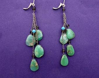 Chrysoprase  Sterling Silver Long Dangling Earrings, Boho Statement Earrings