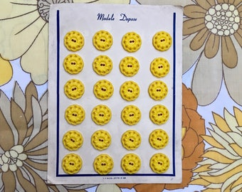 Set of 24 Vintage Plastic Buttons on Original Card- Bright Sunny Yellow