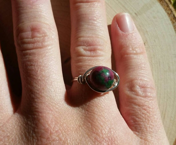 Reiki Attuned Ruby Zoisite Wire Wrapped Ring