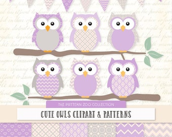 Patterned Lavender Owls Clipart and Digital Papers - lavender Owl Clipart, Owl Vectors, Baby Owls, Cute Owls
