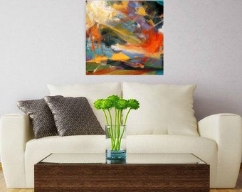 """Contemporary  wallART Sq Abstract Painting Free Shipping Acrylic on Canvas by artist, buyart """"MIRACLE"""""""