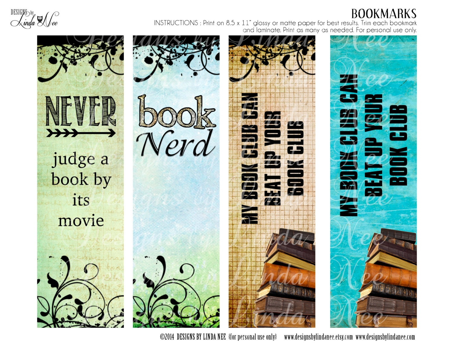 BOOKMARKS Printable BOOK Nerd Bookmarks Instant Download