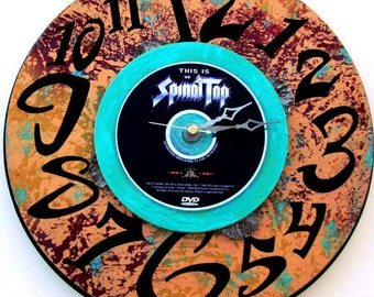 "SPINAL TAP Rock Clock Featuring 1984 DVD ""This Is Spinal Tap"" Wall/Table Top Art, 12"" Diameter, Turquoise, Purple, Flesh,  Mockumentary"