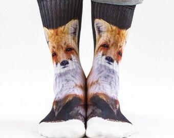 Samson® Fox Hand Printed Socks Sublimation Animals Ginger Quality Print UK