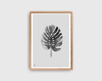 Tropical Poster | Monstera Leaf Print | Minimalist Poster | Tropic Wall Decor | Monochrome Poster | Scandinavian Style Home Decor | Wall Art
