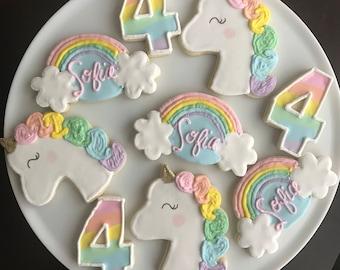 Rainbow Unicorn Cookies / One Dozen