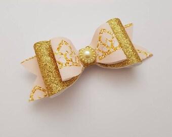 Gold, Pink, Princess Crown, Headband, Fabric, Bow, Glitter, Hair Accessories, Clips, Accessories, Hair, Ribbon, Bows.