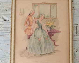 "Romantic Framed Print ""The Flirtation"" Colonial Style 8 by 10 Print"