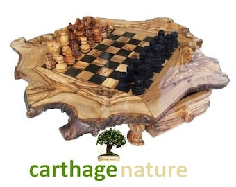 """Mother's day gift, Birthday present, mom gift, dad gift, olive wood rustic chess set board 20 """" boyfriend gift, girlfriend gifts, daddy gift"""