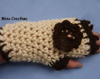 Fingerless gloves crocheted in thick warm wool with beaded flower