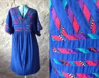 1970s Quilted Boho Mini Caftan Dress | Zip front | Kimono Sleeve | blue