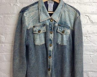 Vintage Denim & Knit Jacket   Acid Washed Denim Jacket   80s Style Denim Jacket   PBJ Blues Jacket