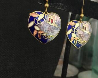Heart earrings, Vintage enamel earrings, enamel heart earrings, cloisonne earrings, cloisonne  heart earrings, vintage enamel earrings E126