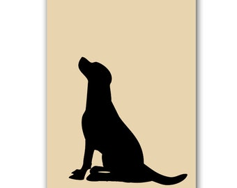 Black Labrador Dog - Fine art print, dog decor, black silhouette, pet , animal, Dog art