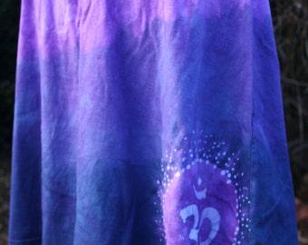 Purple Ohm Batik Skirt - Purple & White - Ohm, Stars - Women's Size Medium - Hand Dyed - Original Art - Cotton