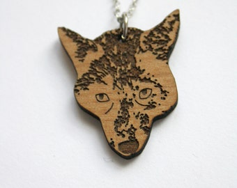 Wood necklace, wolf pendant collar, animal shape, man jewel, woman unisex jewelry, made in France Paris, forest, bohemian and natural style