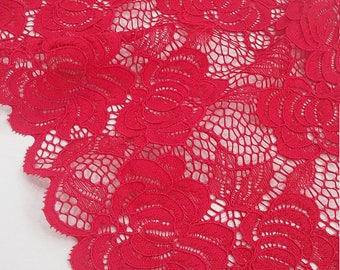 Red lace trim, French Lace, Alencon Lace, Bridal gown lace, Wedding Lace, Garter lace, Evening dress lace, Lingerie Lace by the yard LL5691