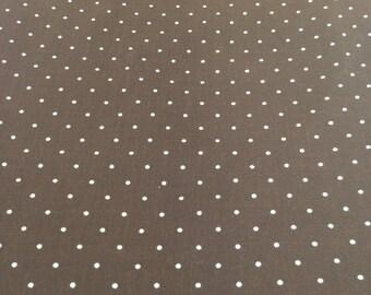 Vintage Cotton Fabric brown white polka dot