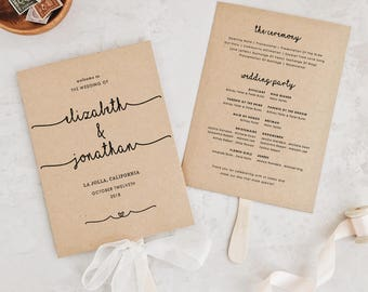 Wedding Programs Template, Printable Fan Program, Calligraphy Program, Rustic Program, Order of Service | Edit in Word and Pages