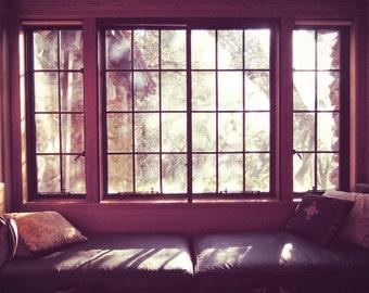 Cabin wall decor,  window seat photograph, mauve plum wine rustic cabin lake house window print Jack London house home - Cabin Morning