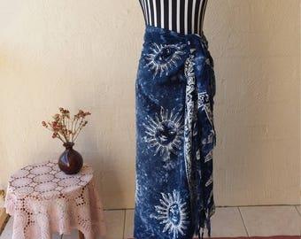Bohemian Tie-Dye Celestial Print Sarong / Maxi Skirt