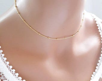 24K gold plated satellite chain choker,gold beaded ball choker,delicate gold chain choker,dew drop necklace,gold rain drop beaded choker