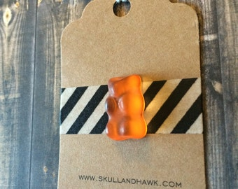 Orange Gummy Bear Lapel Pin - Realistic Resin Faux Candy - Tack Backing with Clutch Clasp