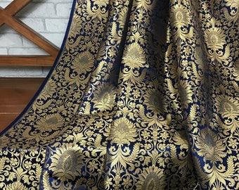 SALE 30% SALE Silk Brocade Navy Blue and Gold Fabric,Wedding Indian brocade,Brocade Pure Silk by yard, Dress fabric, Wedding brocade BRBG03