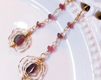 Les boucles d'oreilles Tourmaline melon d'eau, Rubellite rose, cadeau romantique pour elle, boucles d'oreille, cadeau d'anniversaire
