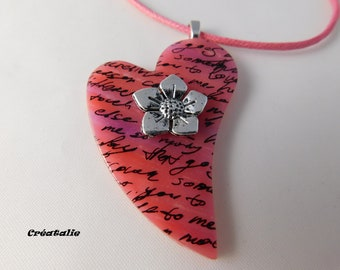 Writing 48 cm polymer clay heart pendant necklace