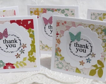 Floral Mini Thank You Cards,2 inch, Handmade Set of 30